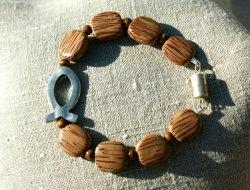 Armband ICHTHYS Palmholz Lederband versilbert Holz Magnetverschluss Fisch christlich