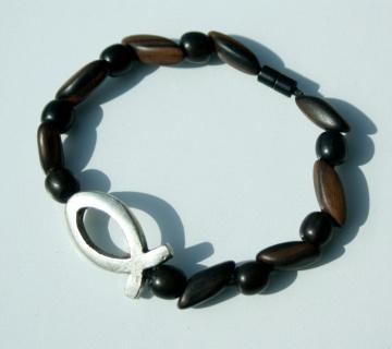 Armband ICHTHYS Ebenholz Lederband versilbert Holz Magnetverschluss Fisch christlich