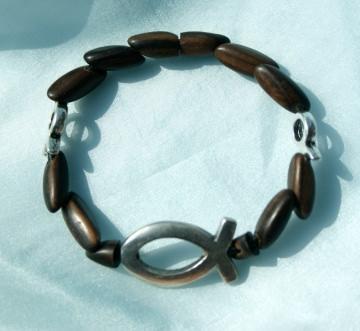 Armband ICHTHYS  und kleine Fische Ebenholz Lederband versilbert Holz Magnetverschluss Fisch christlich