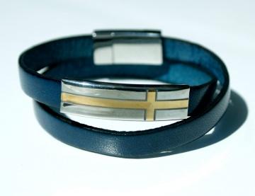 Wickel-Armband KREUZ Leder BLAU Edelstahl schlicht elegant leger lässig Männer christlich unisex
