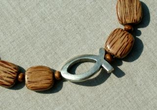 Palmholz Halskette Ichthys versilbert Lederband Holz Magnetverschluss