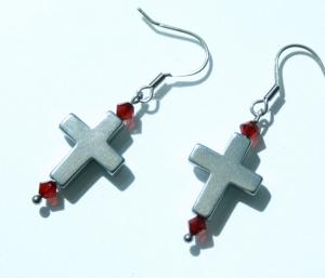 Ohrhänger Kreuz SILBERGRAU Hämatit Glas Edelstahl klein zierlich christlich