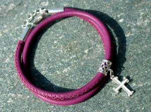 Wickelarmband mit KREUZ Nappa-Leder 925er Silber beere christlich Konfirmation Geschenk