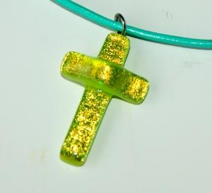 Anhänger KREUZ glitzerndes Gelb dichroitisches Glas Lederband Unikat