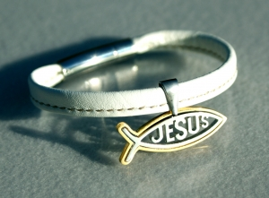 Armband ICHTHYS mit Jesus-Inschrift Nappa Leder weiß Edelstahl