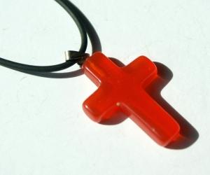 kleines Kreuz CATEYE ROT Anhänger Kautschukband christlich  - Handarbeit kaufen