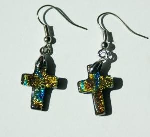 Ohrhänger KREUZ BUNT dichroitisches Glas zierlich christlich  - Handarbeit kaufen