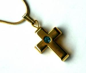 Halskette GOLDENES KREUZ glänzend   - Handarbeit kaufen
