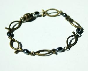 Armband ICHTHYS bronze Hämatit  verspielt
