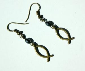 Ohrhänger ICHTHYS bronze Hämatit  verspielt  - Handarbeit kaufen