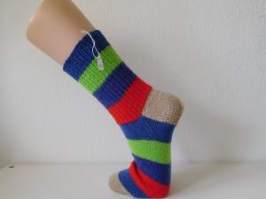 Socken handgestrickt Gr. 39 blau, neongrün, lila, rot beige Blockstreifen  kaufen