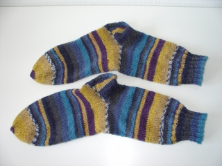Socken handgestrickt Gr. 36 blau gelb bunt gestreift kaufen  - Handarbeit kaufen