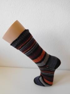 Socken handgestrickt Gr. 40 braun grau gestreift kaufen