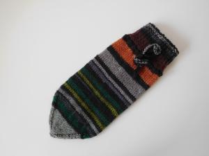 Sparstrumpf handgestrickt braun, orange, grün, grau mit Verschlussband Geschenk kaufen