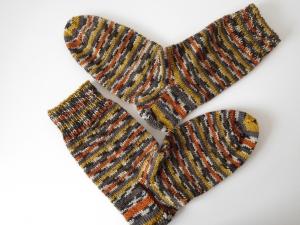 Socken handgestrickt Gr. 38 Gewürz Farben Pfeffer Salz, Curry Muskat gestreift kaufen