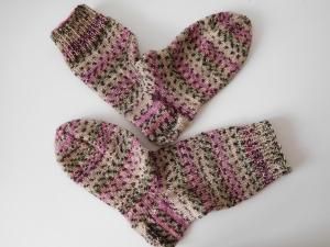 Socken handgestrickt Gr. 36 Modell Ostern beige pink grün gestreift gemustert kaufen