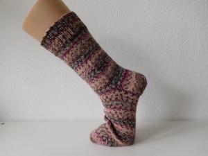 Socken handgestrickt Gr. 44 zart Rose Rosa gestreift kaufen - Handarbeit kaufen