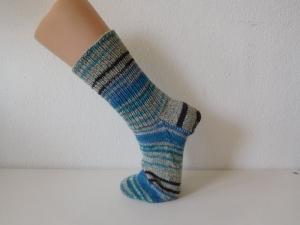 Socken handgestrickt Gr. 42 grau blau gestreift kaufen