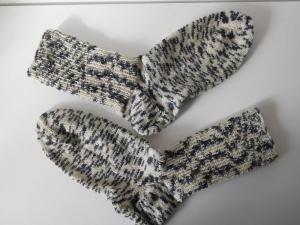 Socken handgestrickt Gr. 42 Zebradesign hellgrau dunkelgrau kaufen - Handarbeit kaufen