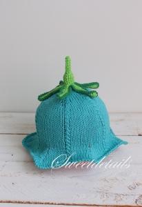 Babymütze Blume Glockenblume Türkis und Grün