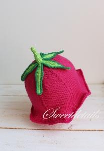 Babymütze Strickmütze als Blume Glockenblume in Pink und Grün