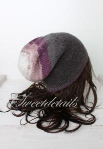 Beaniemütze aus Angorawolle in Grau-Lila-Rosa-Weiß  im Farbverlauf  Wintermütze, Wollmütze