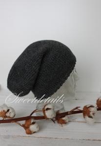 Beaniemütze aus Angorawolle in Grau Wollmütze, Beaniewollmütze, Wintermütze