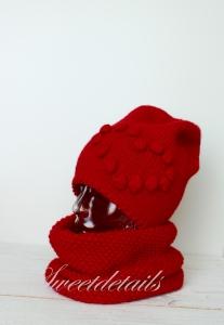 Beaniemütze und Schlauchschal im Set aus Wolle in Rot mit Herz Strickmütze, Wollmütze