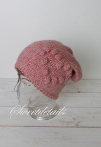 Beaniemütze aus Wolle in Rosa und Glitzer mit Farbverlauf Wollmütze Beaniewollmütze mit Herz