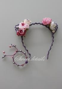 Haarreifen mit Blumen und Katzenohren + passendes Armband mit Perlen in Rosa-Lila