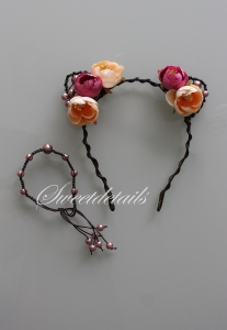 Haarreifen mit Blumen und Katzenohren + passendes Armband mit Perlen in Apricot-Braun-Rosa