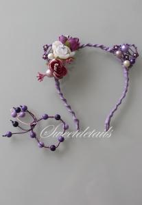 Haarreifen mit Blumen und Katzenohren + passendes Armband mit Perlen in Lila-Weiß