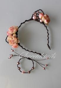 Haarreifen mit Blumen und Katzenohren + passendes Armband mit Perlen in Apricot-Braun