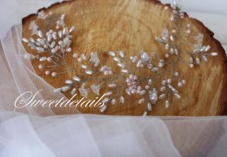 Haarschmuck für die Braut mit weißen und rosanen Perlen Brautschmuck Brauthaarschmuck Diadem
