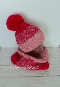 Bommelmütze und Schlauchschal im Set in Rosa Pink Farbverlauf Mützenset