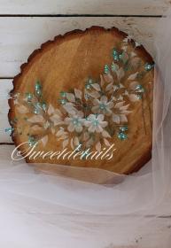 Handgemachter Haarschmuck für die Braut mit weißen und blauen Perlen Brautschmuck Brauthaarschmuck Diadem