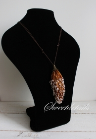 Gehäkelter Kettenanhänger mit Lederband  *Fuchs* Anhänger aus Perlen Häkelkette  Längenverstellbar