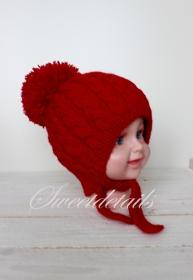 Gestrickte Bommelmütze *Rotkäppchen*  in Rot Babymütze  Wollmütze  Strickmütze Wintermütze