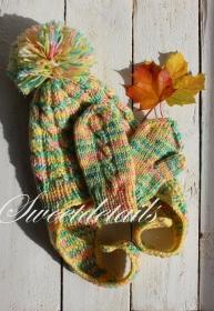 Gestrickte Bommelmütze und Handschuhe im Set  in Gelb - Grün - Rosa mit Farbverlauf Mützenset Babymütze Fäustlinge