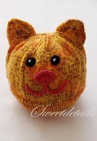 Gestrickte Mütze mit Katzenohren und Katzengesicht aus Wolle in Orange  - Katzenmütze - Wollmütze