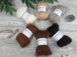 Babyalpaka-Schnupper-Paket – naturfarbige Edelfasern, Spinnfasern, Mini-Kammzüge zum Spinnen, Babyalpaka natur – 150g