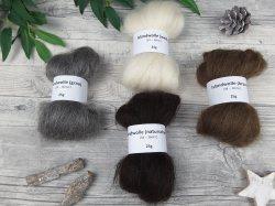 Islandwolle-Schnupper-Paket – naturfarbige Spinnfasern, Mini-Kammzüge zum Spinnen, Islandwolle natur – 100g