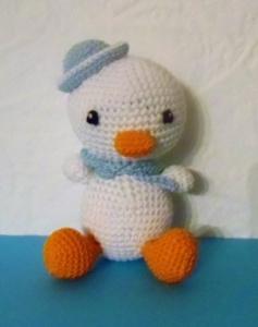 gehäkelte Ente Watschel , Kuscheltier aus Baumwolle , weiß