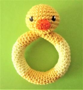 Beißring mit Rassel aus Baumwolle - Ente , gelb ♡  Baby , gehäkelter Beissring