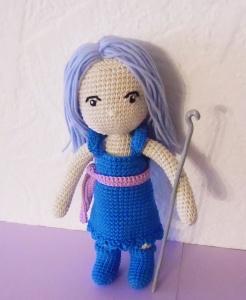Himmels-Fee Lilli , gehäkelte Puppe aus Baumwolle , Kleidung zum an-und ausziehen