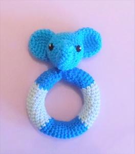 Beißring mit Rassel - Elefant , gehäkelt ♡  Baby , Beissring aus Baumwolle