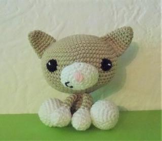 gehäkelte Katze Felix , Kuscheltier aus Baumwolle ★