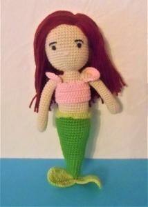 Puppe Aquata, die Meerjungfrau , Top zum an-und ausziehen , gehäkelte Puppe aus Baumwolle