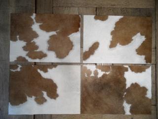 4 Tischsets / Platzsets aus echtem, braun/weiß geflecktem Kuhfell 48cm x 33cm