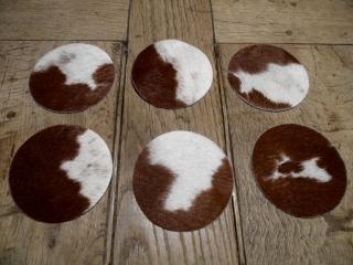 Untersetzer aus Kuhfell braun/weiß 10cm Durchmesser (Kopie id: 100095797)